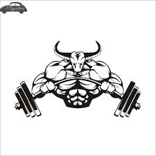 Car Gym Sticker Barbell Bull Fitness Decal Body Building Posters Vinyl Wall Decal Car Stickers Aliexpress