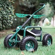 garden stool cart rolling work seat