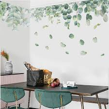 Pvc Removable Wall Sticker Green Foliage Leaves Botanical Nursery Mural Art Wall Decal For Living Room Bedroom Decoration Wall Stickers Aliexpress
