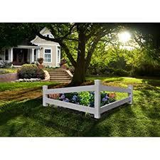 Amazon Com New England Arbors Va20236 Split Rail Corner Picket Fence White Garden Outdoor