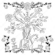 Skeleton Horse Art Adult Coloring Page With Flowers Skeleton
