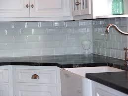 blue glass tile backsplash kitchen