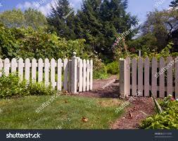White Picket Fence Gate Frame Entrance Stock Photo Edit Now 83193790