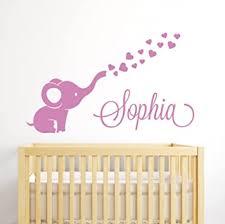 Amazon Com Custom Elephant Hearts Name Wall Decal Elephant Baby Room Decor Nursery Wall Decals Elephant Vinyl Sticker For Girls Baby