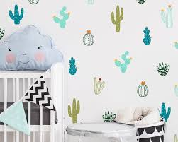 Cactus Wall Decals Colorful Cacti Wall Stickers Nursery Etsy
