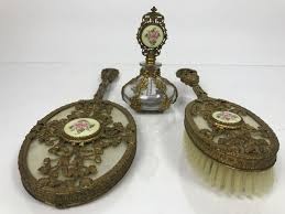 vintage vanity set with perfume bottle