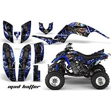 Amazon Com Amr Racing Atv Graphics Kit Sticker Decal Compatible With Yamaha Raptor 660 2001 2005 Mad Hatter Silver Blue Automotive