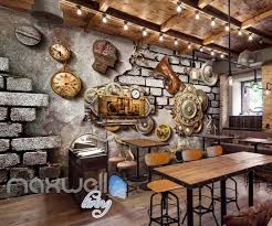 Grunge Poster With Gears Old Clocks And Trumpet In Brick Wall Art Wall Idecoroom