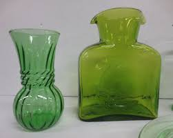 water pitcher with green depression glass