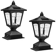 Pack Of 2 4 X 4 Solar Powered Post Cap Light Wood Fence Posts Pathway Deck Fence Light Pack 2 Amazon Com