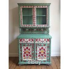 antique folk art kitchen dresser flower