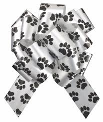 dog cat puppy paw print pull bows