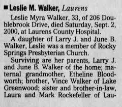 Obituary for Leslie Myra Walker (Aged 33) - Newspapers.com