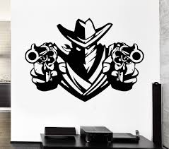 Removable Wall Decal Cowboy Bandit Revolver Pistols Weapons Shawl Vinyl Decal Home Decor Art Vinyl Wall Mural Paper A 26 Removable Wall Decals Decoration Artwall Decals Aliexpress