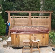 35 Wood Fence Designs And Fence Ideas Wood Fence Plans And Details Hot Tub Outdoor Hot Tub Privacy Hot Tub Backyard