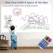 Whiteboard Sticker With 4 Paint Markers Ninonly 17 X 78 For School Office Home Self Adhesive