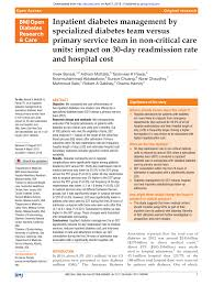 PDF) Inpatient diabetes management by specialized diabetes team versus  primary service team in non-critical care units: Impact on 30-day  readmission rate and hospital cost