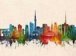 Tokyo Skyline Watercolor Digital Art By Bekim M
