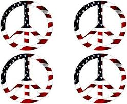 Amazon Com Rogue River Tactical Pack Of 4 Red White Blue Usa Peace Sign Symbol Decal Sticker American Flag Usa Large Inch Patriotic Auto Bumper Sticker Vinyl Car Truck Rv Suv Boat Window
