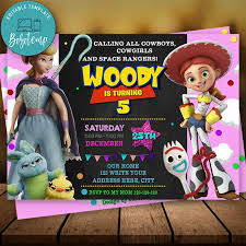 Invitacion De Cumpleanos De Toy Story Editable Para Nina Descarga
