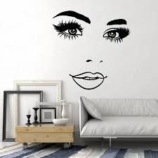 Vinyl Wall Decal Woman Face Eyelashes Eyes Lips Beauty Studio Stickers Mural Salon Wallaper Wl1561 Wall Stickers Aliexpress