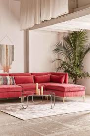 cecilia velvet sectional sofa natural