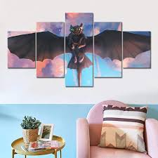 2020 How To Train Your Dragon Cartoon Movie Poster Toothless Wall Sticker Home Decor Wall Art Picture Mural Painting Gift Sh190913 From Hai05 14 19 Dhgate Com