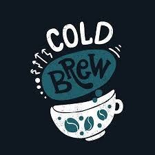 cold brew in big white cup decorative hand drawn lettering