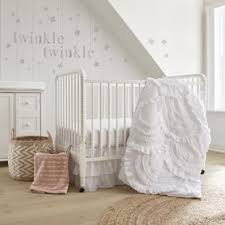 Levtex Baby Bailey Crib Bed Set Baby Nursery Set Charcoal Taupe White Neutral Forest Theme 5 Piece Set Includes Quilt Fitted Sheet Diaper Stacker Wall Decal