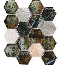 crystal glass mosaic tile hexagon hand