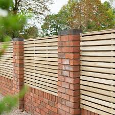 4ft High Forest Contemporary Double Sided Slatted Fence Panel Pressure Treated Elbec Garden Buildings