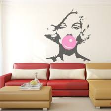 Fun Marilyn Monroe Blowing Bubbles Wall Sticker Just Pink About It Salon Wall Art Vinyl Poster Wall Decal Sticker