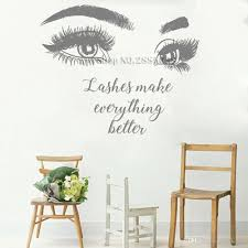 Beautiful Big Eye Eyelashes Wall Stickers Make Up Quotes Beauty Salon Wall Decal Removable Vinyl Sofa Background Decor New Floral Wall Stickers Flower Wall Decal From Joystickers 18 Dhgate Com
