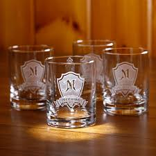 personalized shield whiskey glasses