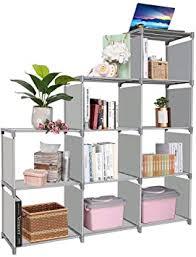 Amazon Com Clewiltess 9 Cube Diy Storage Bookcase Bookshelf For Kids Home Furniture Storage Shelves Closet Organizer Rack Cabinet For Bedroom Living Room Grey Home Improvement