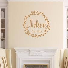 Last Name Vine Wreath With Established Date Vinyl Wall Decal 22601 Cuttin Up Custom Die Cuts