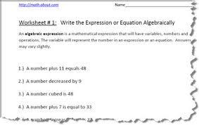pre algebra worksheets for writing