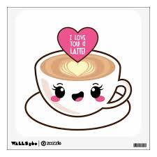 Love You A Latte Emoji Kawaii Wall Decal Zazzle Com