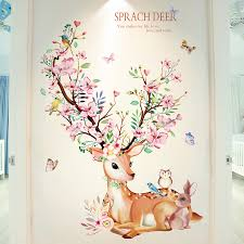 Deer Rabbit Animal Wall Stickers Diy Flowers Wall Decals For Kids Rooms Baby Bedroom Nursery Home Decoration Wall Stickers Aliexpress