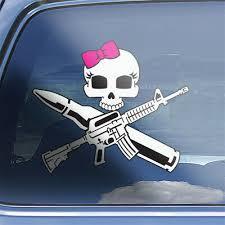 Girls Ar15 Crossbones Decal Ar 15 Rifle Target Shooting Decal Girl Skull Sticker Decor Decals Stickers Vinyl Art Home Garden