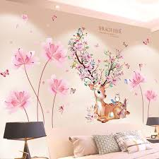 Shijuekongjian Deer Animal Wall Stickers Diy Flowers Plant Wall Decals For House Kids Rooms Baby Bedroom Decoration Create Wall Decals Create Wall Stickers From Starch 14 55 Dhgate Com