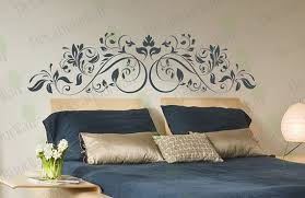 Headboard Wall Decal King Queen Full Bedroom Living Room Flower Swirl Stickers Floral Sticker Home Decor Wall Art Removable Vinyl Sticker Headboard Wall Headboard Wall Decal Wall Stickers Home Decor