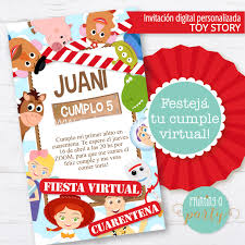 Invitacion Personalizada No Editable Toy Story Cumpleanos Virtual