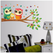 Decoration Cute Owl Wall Stickers Kids Cartoon Animal Wall Decal Owl Family Standing On The Branches Best Decoration For Kids Room Home Kitchen Decoration Home Garden Store