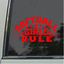 Softball Girls Rule Red Decal Car Window Red Sticker Softball Decals Softball