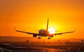 تحميل خلفيات طائرة ركاب غروب الشمس المدرج السفر الجوي عريضة