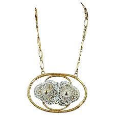 gold tone enamel pendant necklace
