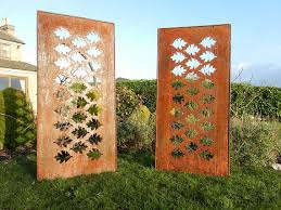 rusty leaf garden panel metal privacy