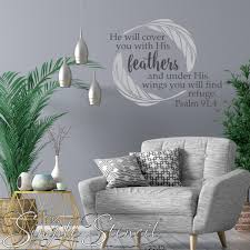 Psalm 91 4 He Will Cover You With His Feathers Christian Wall Word Art Wall Lettering Wall Decals The Simple Stencil