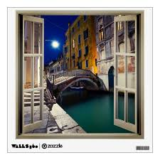Bridge Over Canal At Night Venice Faux Window Wall Decal Zazzle Com